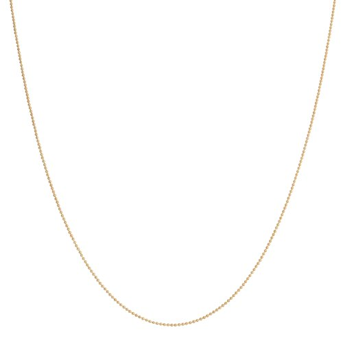Kooljewelry 14k Yellow Gold 0.8 mm Shiny Bead Ball Chain Necklace (16 inch)