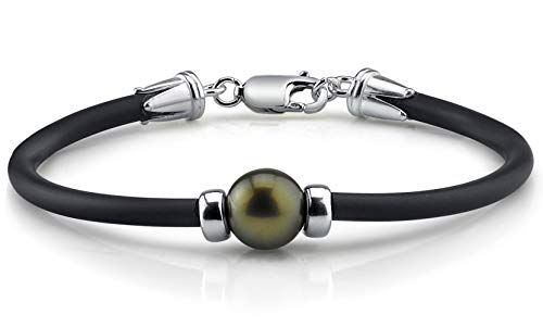 THE PEARL SOURCE Sterling Silver 11-12mm Round Genuine Black Tahitian South Sea Cultured Pearl Bracelet for Women