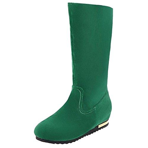 COOLCEPT Damen Stiefel Ohne Verschluss Hidden Heel Green