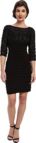 Dress Papell Black Adrianna (Adrianna Papell Women's Three-Quarter Sleeve Textured Lace Banded Dress, Black, 14)