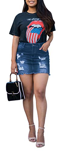 - NioBe Clothing Wax Women's Denim Frayed Destruction Distressed Hem Skirt (Medium, Medium Denim)