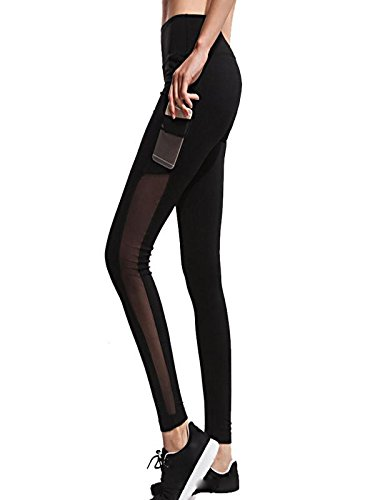 Price comparison product image UONQD Women Yoga Pants Workout Leggings Fitness Sports Gym Running Athletic(Small,Black )