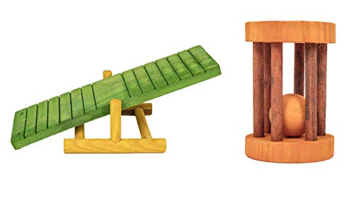 Ware Manufacturing Small Pet Wood Toy Bundle: Critter Totter and Barrel Roller
