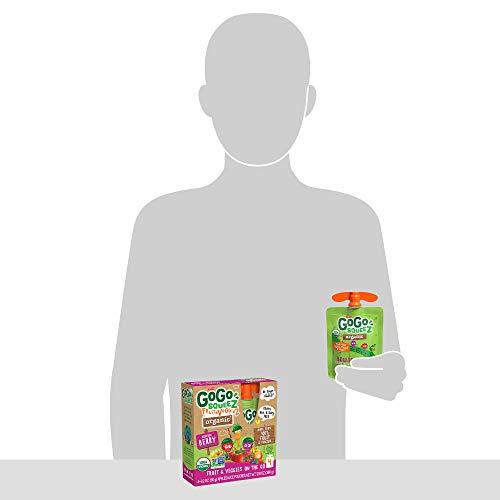 GoGo squeeZ Organic fruit & veggieZ, Apple Mixed Berry Carrot, 3.2 Ounce (4 Pouches), Gluten Free, Vegan Friendly, Unsweetened, Recloseable, BPA Free Pouches
