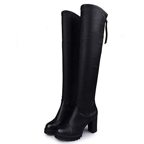 Smart Mid Haut Qiusa Martin Genou 10 Désert Plate Chaussures Tactique Chukka Taille Equitation Talon Noir Bottes Semelles forme Cuisse Chunky 3 Femmes Hautes Hiver FzFUY