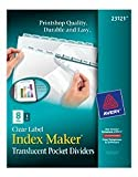 Avery Index Maker Print & Apply Clear Label Plastic Dividers, 8-Tab, Letter