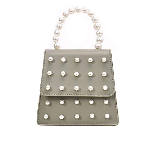 LONGDAY  Womens Casual Crossbody Pearl Messenger Bag Chain Bag Plain Bag with Handle Ladies Work Bag Faux Leather Green