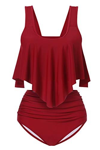 Aranmei Womens Swimsuit Two Piece Bathing Suit Ruffled Flounce Crop Top with High Waisted Ruched Bottom Bikini Set (Wine Red, Medium) ()