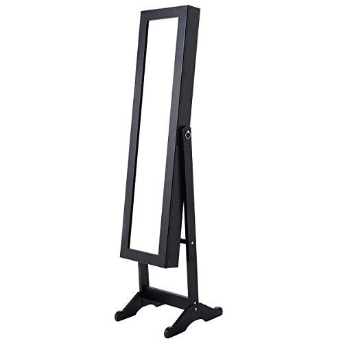 Giantex Mirrored Jewelry Cabinet Armoire Mirror Organizer Storage - Jewelry Mirror Stand
