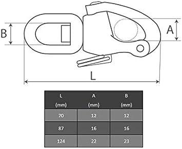 Wirbel Auge OPIOL QUALITY Wirbelsch/äkel Schnapphaken Fallsch/äkel 2 St/ück   Edelstahl A4 Wirbelgabel Wirbelkarabiner Schnappsch/äkel mit Wirbelauge 87 mm