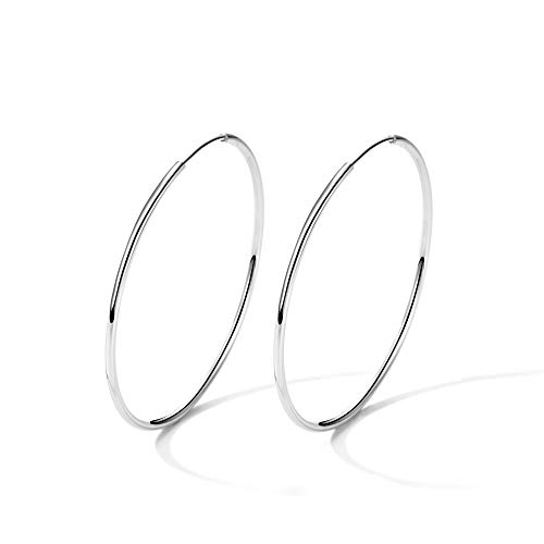 T400 925 Sterling Silver Hoop Earrings Large and Small Thin Lightweight Hoops ♥ Birthday Gift for Women 25 35 40 45 50 55 60 65 mm ()