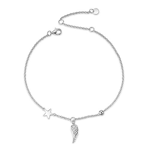 LUHE Angel Wings Anklets for Women Teen Girls Sterling Silver Adjustable Wings Bead and Ball Star Ankle Bracelets Beach Minimalism Anklets -