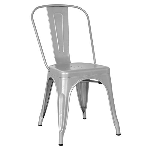 Poly and Bark Trattoria Side Chair in Grey (Grey Chairs Metal Dining)