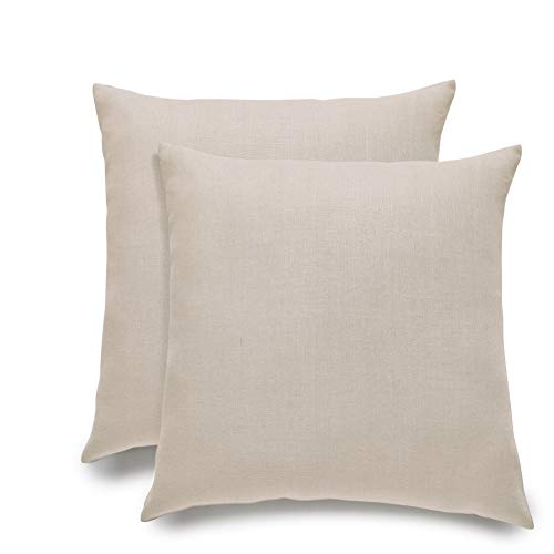 Solino Home Linen Pillow Cover - Decorative Throw Pillow Cover, 100% Pure Linen Cushion Case - 20 x 20 Inch, Set of 2 - ()