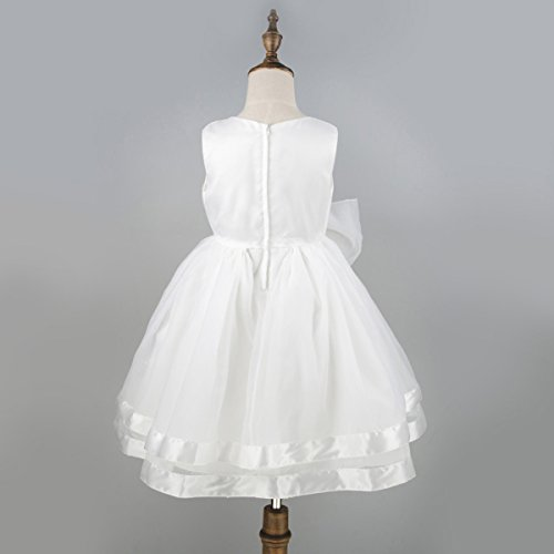 Flower Girls Dress Satin Organza Wedding Party Ball Gown Bowknot Tulle Dresses,White,3T