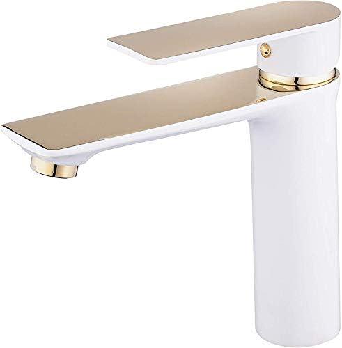 ホットとコールドのバスルームの洗面化粧台の蛇口、NOEzyfモダンなシングルハンドルシングルホールホワイト、クロムシンクの蛇口付き,C