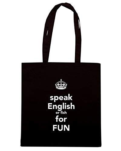 Borsa Shopper Nera TKC4099 KEEP CALM AND SPEAK ENGLISH OR FISH FOR FUN
