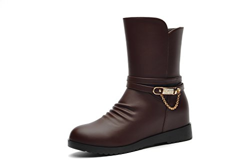 Short PU Leather Martin Boots (Coffee) - 9