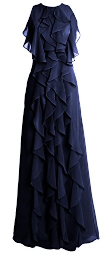 MACloth Women O Neck Long Bridesmaid Dress Chiffon Wedding Party Evening Gown Dunkelmarine LnBdgl