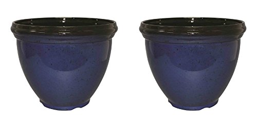 Southern Patio Black-Blue Resin Planters - Set of 2 - UV Resistant NO FADE - 15