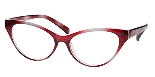 SOOLALA Modern Cat Eye Clear Lens Eye Glasses Frame Reading Glasses for Ladies, Red, 1.75D