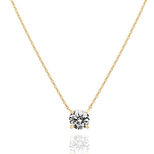 PAVOI 14K Gold Plated Swarovski Crystal Solitaire 1.5 Carat (7.3mm) CZ Dainty Choker Necklace | Yellow Gold Necklaces for Women (Metal Choker Necklace)