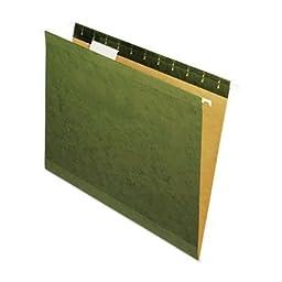 Universal OneTM Reinforced Recycled Hanging Folder, 1/5 Cut, Letter, Standard Green, 25/Box