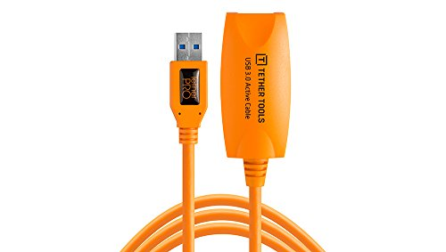 Tether Tools TetherPro USB 3.0 to USB Female Active Extension, 16' (5m), High-Visibility Orange