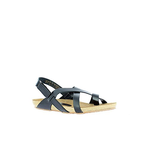 Black Toe 004 Open Black Ibiza Women's Sandals Vaquetilla Brown Yokono SRq0wIZZ