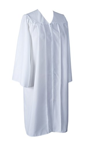 (GraduationService Unisex College Graduation Gown Only Matte Finished White)