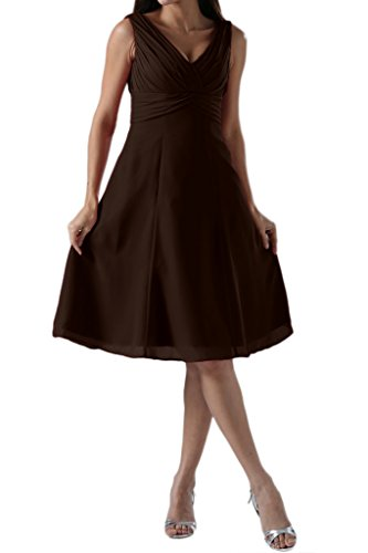 MILANO BRIDE Simple Bridesmaid Dress Sapghetti Straps Knee Length Party Gown-2-Chocolate