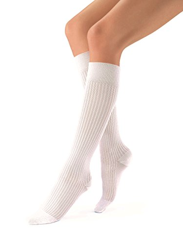 JOBST soSoft 15-20 mmHg Knee High Compression Socks, Ribbed Pattern, White, Medium