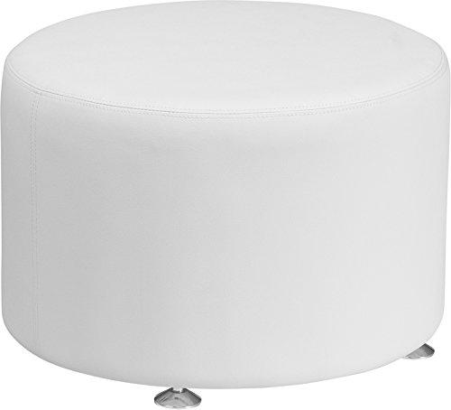 "Cheap Flash Furniture HERCULES Alon Series Melrose White Leather 24"" Round Ottoman"