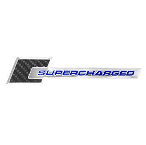 - Carbon Fiber & Chrome Aluminum Blue Supercharged Engine Emblem - 6.0
