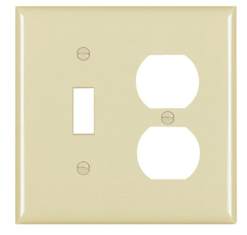 Legrand - Pass & Seymour TP18ICC12 Trade Master Nylon Combination Openings Wall Plate with One Toggle Switch and One Duplex Receptacle Opening, Two Gang, Ivory