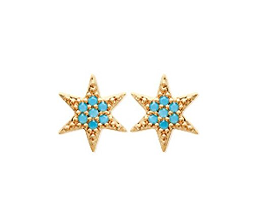 Boucles d'Oreilles en Plaqué Or et Pierres Turquoise - Etoile