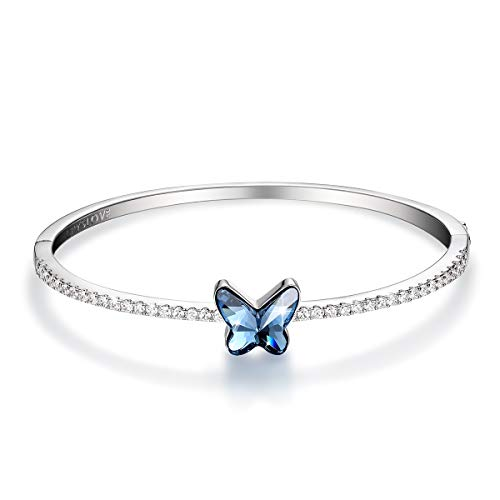 CRYSLOVE Butterfly Bangle Bracelet Dream Chasers Elegant Butterfly Cuff Copper Blue Crystal Butterfly Bracelet Jewellery Gift, Comes with Elegant Gift Box