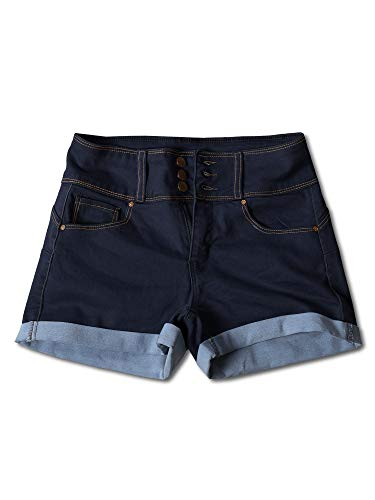 Awesome21 Casual Three Buttons Push Up Roll-up Cuff Denim Shorts Dark S