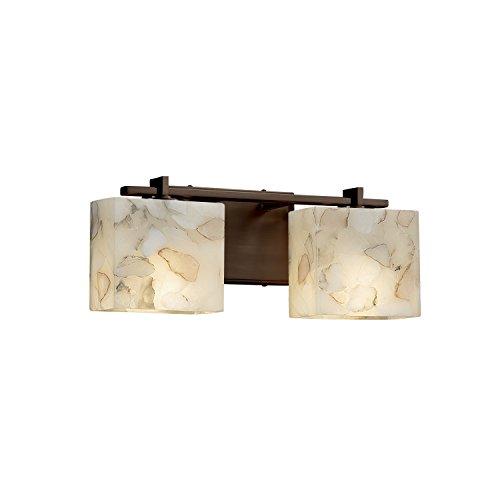 Justice Design Group Lighting ALR-8442-55-DBRZ-LED2-1400 Era LED 2-Light Bath Bar-Dark Bronze Finish with Alabaster Rocks Rectangle Shade