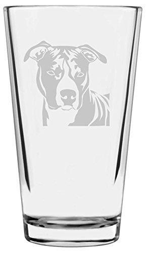 - American Staffordshire Terrier Dog Themed Etched All Purpose 16oz Libbey Pint Glass