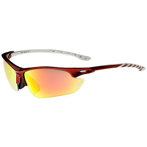 Beton - Helens - Two-Toned Half-Frame Color Mirror Lens Sports Wrap Sunglasses 75mm (Red-White / Orange - 75mm Sunglasses