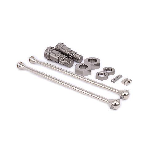 Front/Rear #45 Steel Universal Drive Shaft with Wheel Stub Axle/Hub Hex and Nut 7753 for 1/5 1/6 Scale Traxxas X-MAXX Truck Monster Truck Big Foot Short Course Off-Road RC Hobby Car(Titanium)