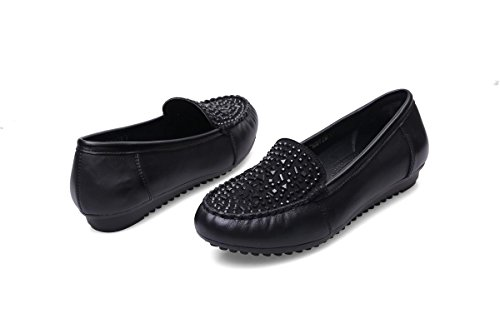 Fall 5 4 Black Nvxie Antiscivolo Donne Eur39uk665 Di 37 Singoli 5 uk New Pattini Eur Loafer Comfort Pelle Stoffa Work Cuoio Genuino Molle Bottom Festa Delle Spring gAg4T