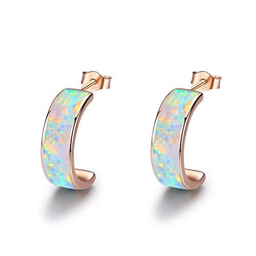 Earrings 14k Gold C-hoop (CUOKA MIRACLE Opal Hoops Earrings, 14K Gold Plated Sterling Silver Huggie Earrings C Hoops Circle Earrings Hypoallergenic Earrings Gifts for Women)