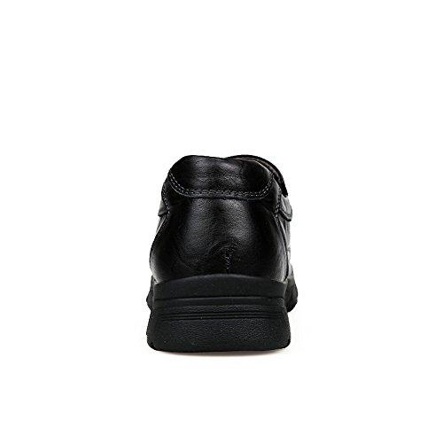 Enllerviid Män Mjuk Moc Tå Slip På Loafers Bred Oxfords Läder Klänning Arbetar Skor 896 Svart