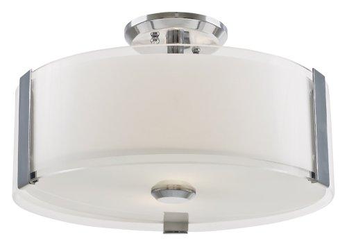 DVI Lighting DVP14511SN-SSOP Semi Flush Mount with Silk Screened Opal Glass Shades, Satin Nickel Finish (Satin Ssop)
