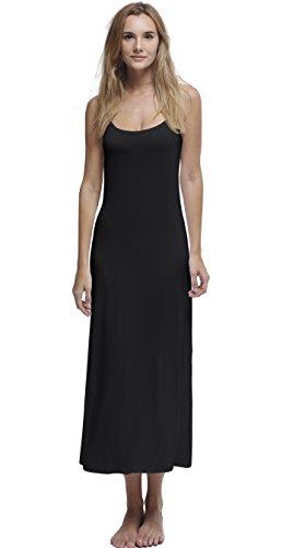 Papicutew Women's Modal Long Full Cami Slip Dress Sleeveless Nightgowns (Black, XL) ()