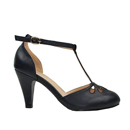 1920 Shoes Flappers (Chase & Chloe Kimmy-36 Women's Teardrop Cut Out T-Strap Mid Heel Dress Pumps (7, Black)