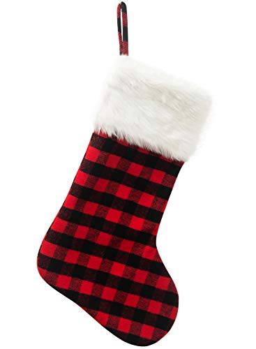 EDLDECCO 20.5 inch Christmas Snowy White Faux Fur Red and Black Plaid Stocking for Holiday party decorations gift-One Piece