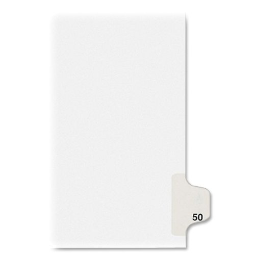 Numeric Legal Tabs - Avery Individual Legal Exhibit Dividers, Allstate Style, 50, Side Tab, 8.5 x 11 inches, Pack of 25 (82248)